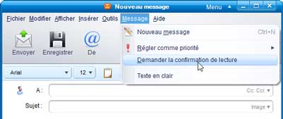IncrediMail - Demander la confirmation de lecture