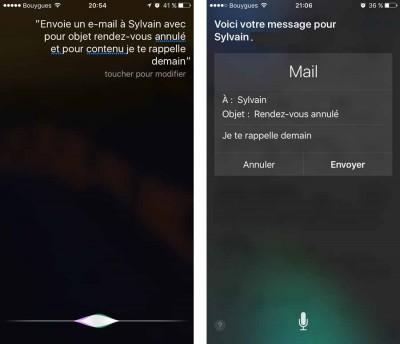 Envoi d'e-mail via Siri