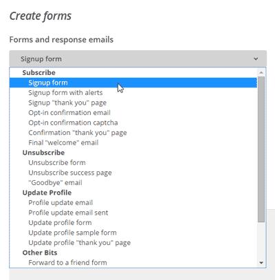MailChimp - Create forms