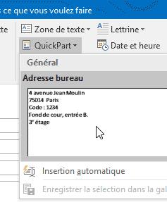 QuickPart Outlook