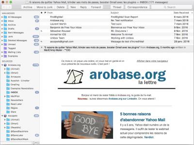 L'interface de MailMate