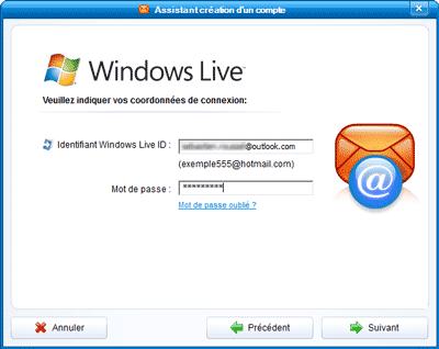 Identifiant et mot de passe Outlook.com
