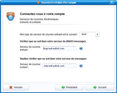 Serveurs IMAP et SMTP Outlook.com