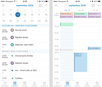 Calendrier app Outlook