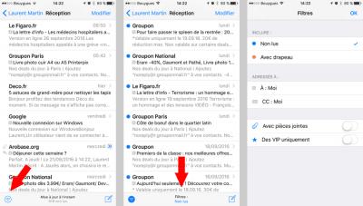 Filtres de messages Mail iOS 10