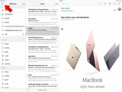 Mail sur iPad Pro