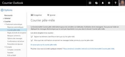Activer la fonction pêle-mêle sur Outlook.com