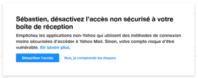 Avertissement de sécurité Yahoo