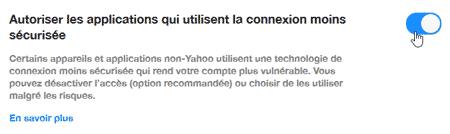 Autoriser les connexions non sécurisées à Yahoo Mail