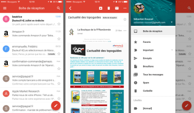 L'interface de l'app Gmail pour iOS