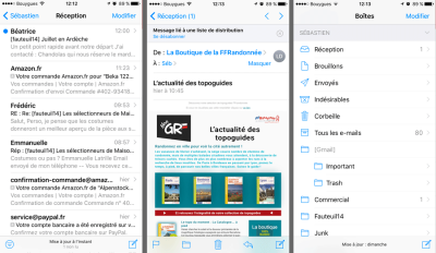L'interface de Mail pour iOS