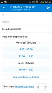 Outlook mobile - Disponibilité